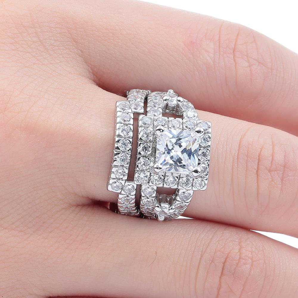 2pc Luxury Large Square While AAA CZ Wedding Rings Sets for Women ...