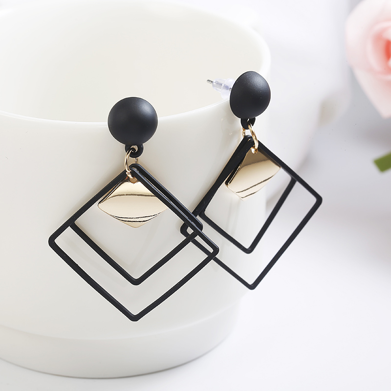 Simple Style Fashion Silver Gold Color Earrings for Women Square Round Geometric Hanging Earrings 18 Female Pendientes Jewelry 48