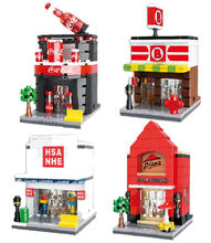 Store Model HSANHE City street Series 4 models Building Blocks Pizza shop Mini Street Best gift Toys Assembled Bricks