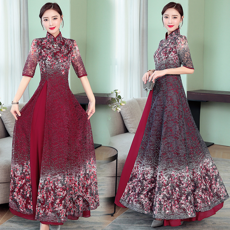 2019 printemps nouveau rétro en mousseline de soie dentelle robe femmes amélioré cheongsam banquet robe grande taille M-4XL de haute qualité élégant vestidos - 2
