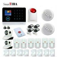 SmartYIBA GSM WIFI Alarm System Wireless Security Home Burglar System With Video IP Camera Fire Smoke Detector Wireless Siren