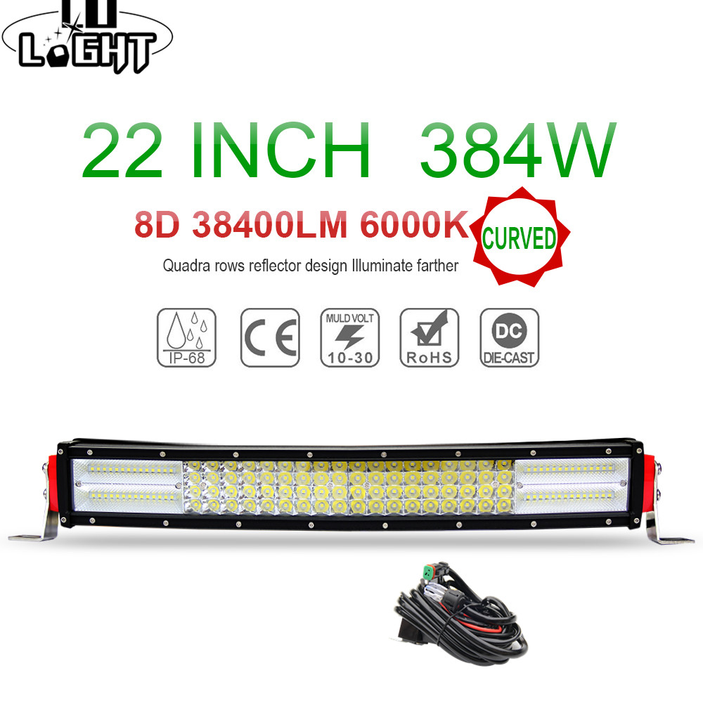 CO LIGHT 22'' Offroad Led Bar Curved 8D Led Work Light Bar Combo 384W Auto Driving Lamp for Lada Niva Uaz Gaz Jeep ATV 12V 24V co light 90w 20 led bar slim offroad 6d 6000k single work light bar combo for barra led lada niva 4x4 jeep ford car styling