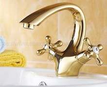 цены Gold Color Brass Bathroom Basin Faucet Lavatory Sink Tap Mixer Double Cross Handle Bath Tap Hot and Cold Mixer Tap znf231