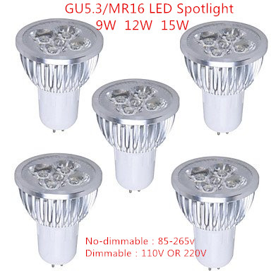 10pcs Super Bright 9W 12W 15W GU5.3/MR16 LED Bulb Light Lamp 110V 220V Dimmable Led Spotlights Warm White /Cool White/Pure White
