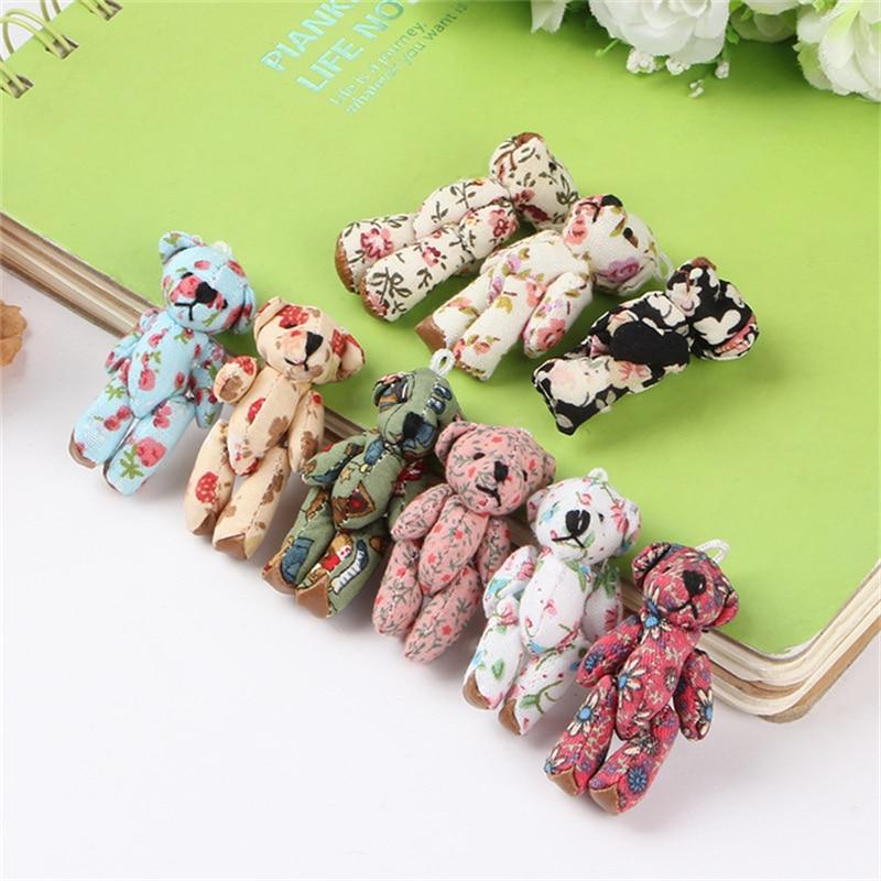 30Pcs/lot Stuffed Teddy Bear Flowers Style Joints Plush Pendant Bouquet Dolls Cheap Wholesale High Quality Cotton Materials Gif