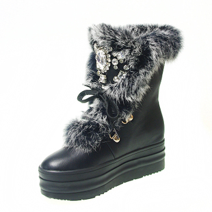 a215444df3e5 2017 Real Rabbit Fur Winter Boots Rhinestones Diamond Snow Boots Thick Warm  High Top Women Shoes Large Size 41 Winter Boots-in Ankle Boots from Shoes  on ...