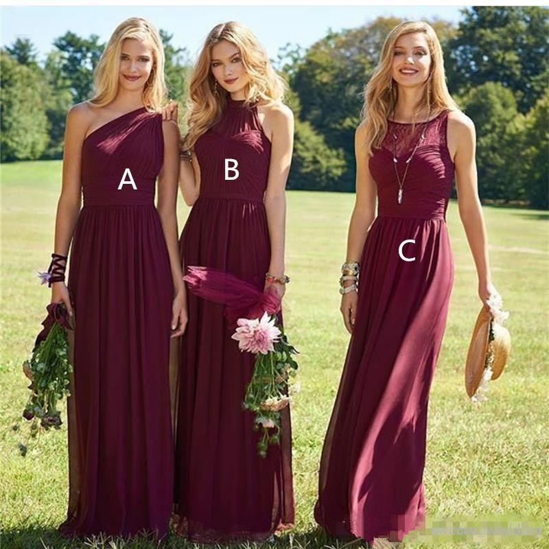 Burgundy 2019   Bridesmaid     Dresses   For Women A-line One-shoulder Chiffon Long Cheap Under 50 Wedding Party   Dresses