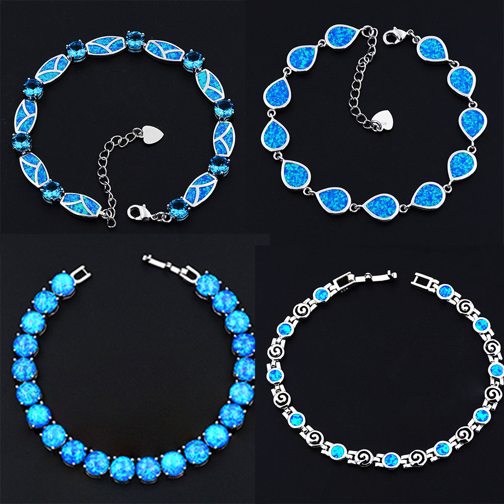Shiny 8 Mm Round Blue / White Fire Opal Bracelets For Gift