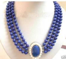 Women jewelry choker anime gem chocker maxi collier natural Charming Jewelry 3Row Real Lapis Lazuli white pearl clasp Necklace