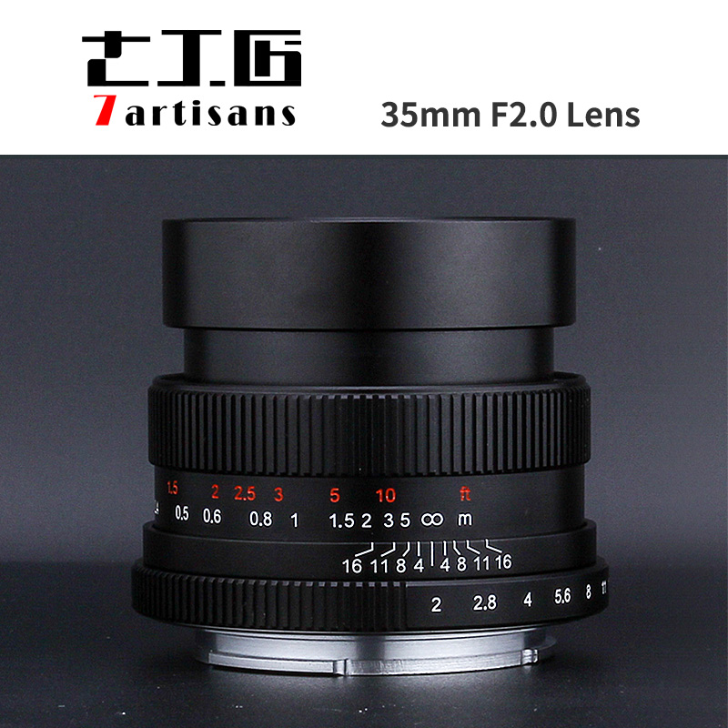 7artisans 35mm F2.0 full frame Lens for Micro single camera E-mount FX-mount canon-M mount A7II AA7RII A7SII A6500 X-A10 X-A2 M5 mount