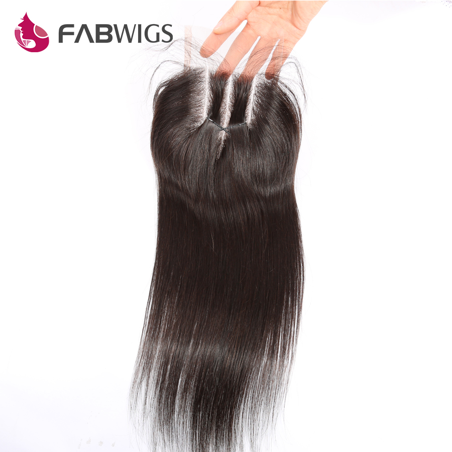 Fabwigs Brazilian Silky Straight Lace Closure with Baby Hair Bleached Knots 100% Human Remy Hair Closures Freeshipping