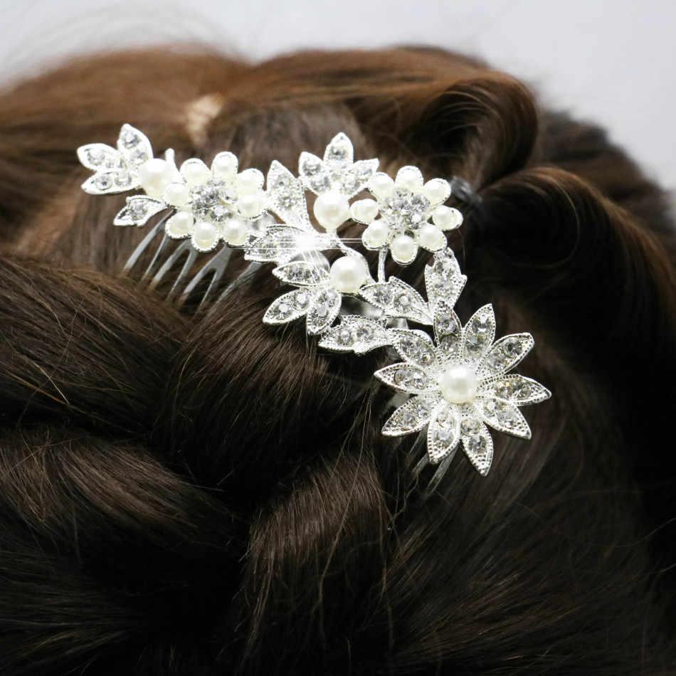 Trendi Hairwear Wanita Aksesoris Pernikahan Bridal Crystal Rhinestone Bunga Faux Mutiara Jepit Rambut Diamante Rambut Klip Sisir 92*60 Cm