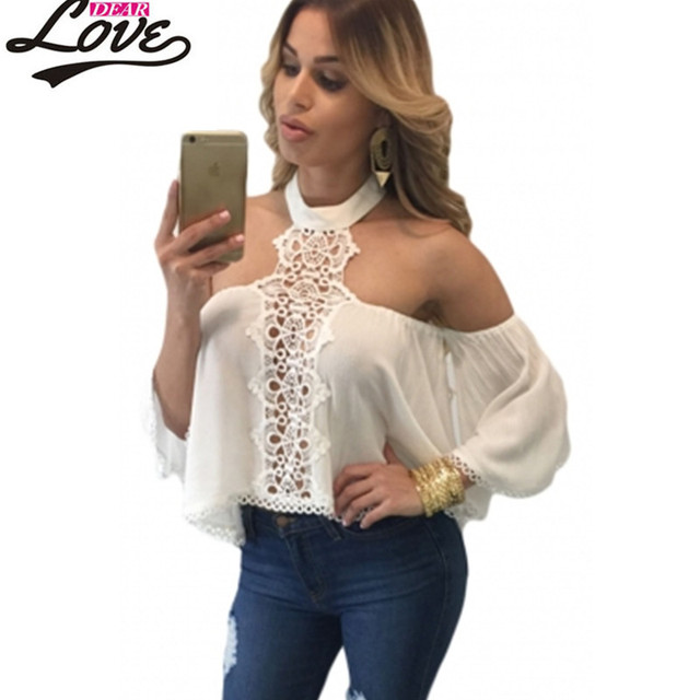 2017 estilo barato verano sexy hombro tops más reciente mujer camisola blanca chocker cuello hombros desnudos flare blusa entallada lc25765