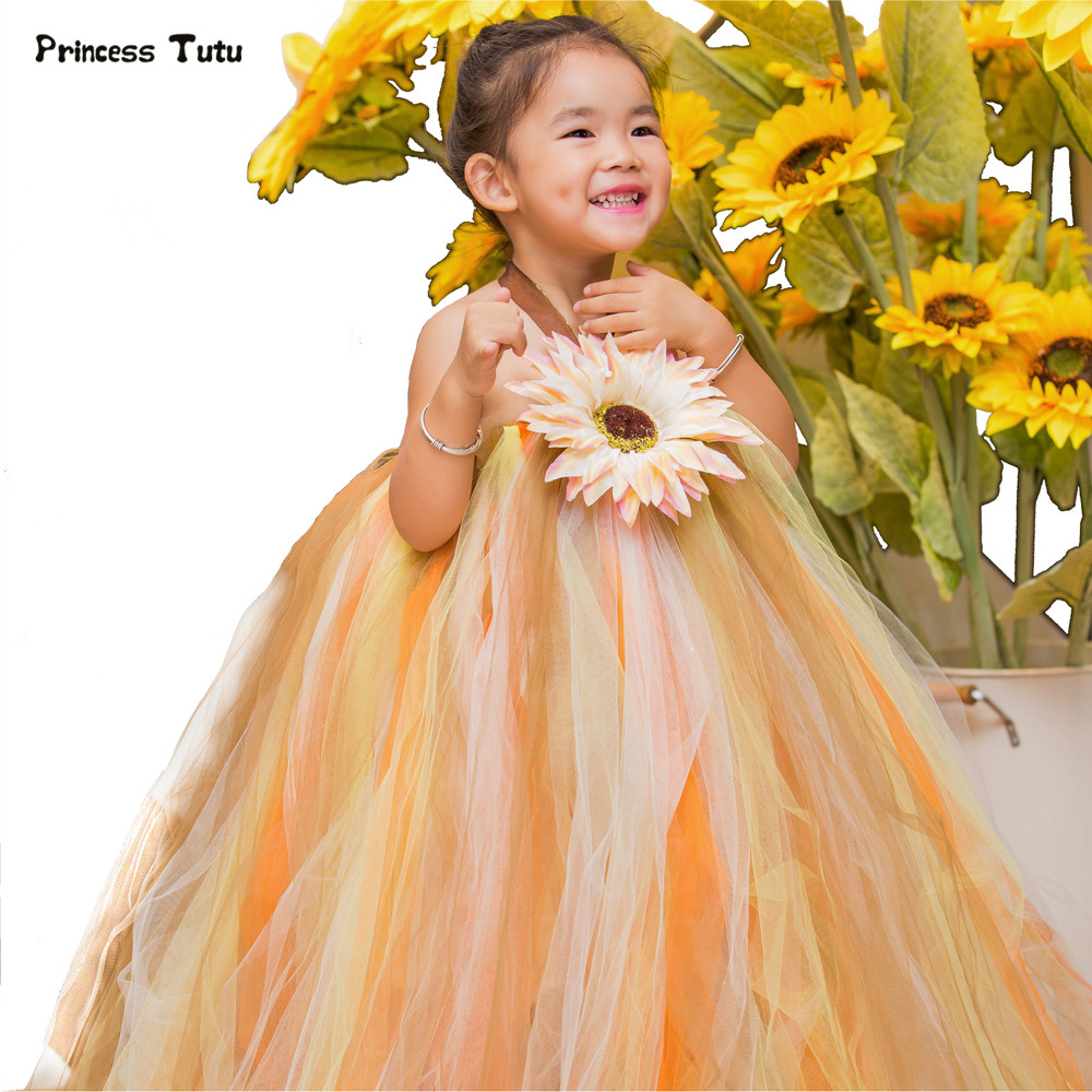 Sun Flower Girls Tutu Dress Children Princess Party Pageant Ball Gown Tulle Kids Dresses For Girls Scarecrow Halloween Dress