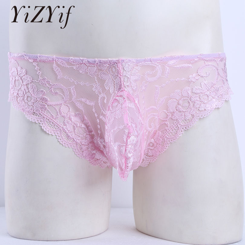 Mens Mesh Lace Open Butt Underwear Briefs Sissy Panties Gay See-through Lingerie