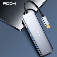 ROCK 4 in 1 DEX Station for Samsung S10 S9 Plus dex Cable USB Type C to HDMI 3 USB 3.0 Ports Adapter for Huawei Mate 20 P30 Pro