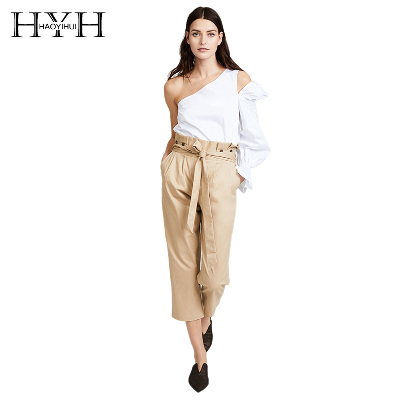 HYH HAOYIHUI Women OL Solid Light Khaki   Capri     Pants   With Wasit Tie High Waist Button On Waist Seven   Pant   Straight Trousers