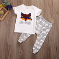 New Style Fashion Newborn Infant Baby Boy Girls Clothes Fox Short Sleeves Tops Shirt Long Pants Children Clothing Outfits Set
