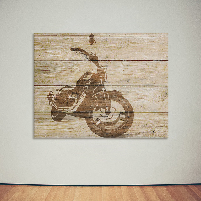 Art Print Oil Painting Motorcycle Framed Wood Pattern Home/Store/Room Decor  Modern Wall