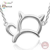 Strollgirl 925 Sterling Silver Cat Necklaces For Women Hollow Cat Pandent Necklace Fine Jewelry Girl Chain