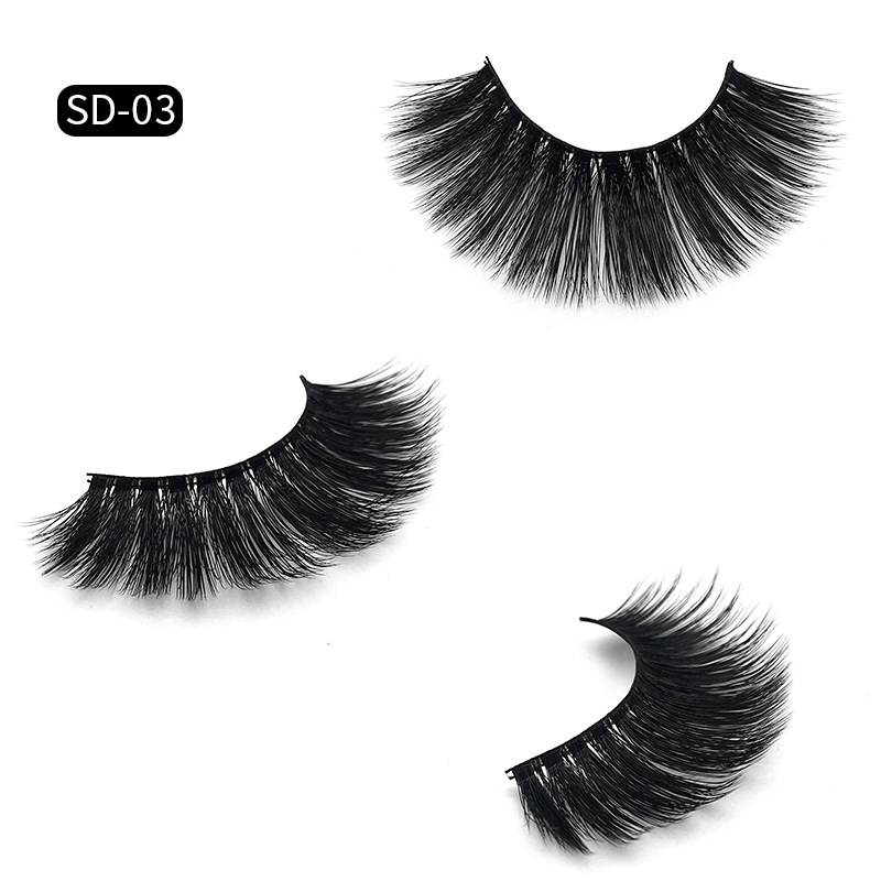 Handmade Thick Mink 3D Hair False Lashes Natural Long Fake Eyelashes Black Cotton Stalk 120sets/lot DHL Free YL003