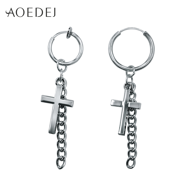 mens hanging earrings aliexpress buy aoedej cross small hoop earrings for 4819