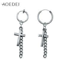 Маленькие серьги кольца aoedej с крестом для мужчин и женщин