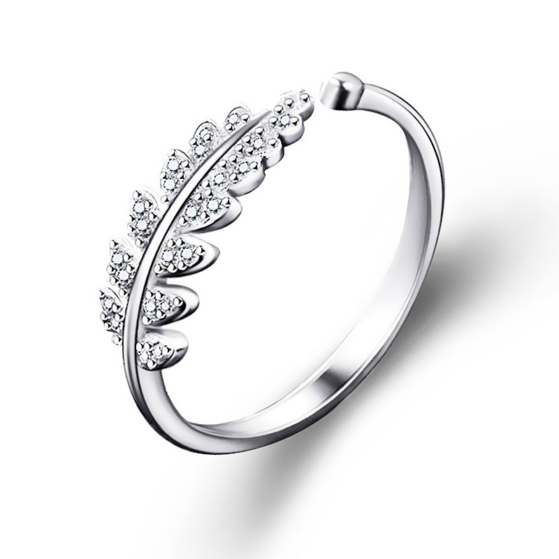 New LNRRABC Woman Jewelry Fashion Simple Open Design Leaf Ring Personality Female Flower Rings Wedding Rings for Women