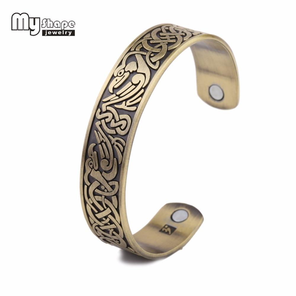 My Shape Magnetics Viking Bracelet Cuff Bangle phoenix Knot Pattern Jewelry Adjustable Health Care power healing Vintage New