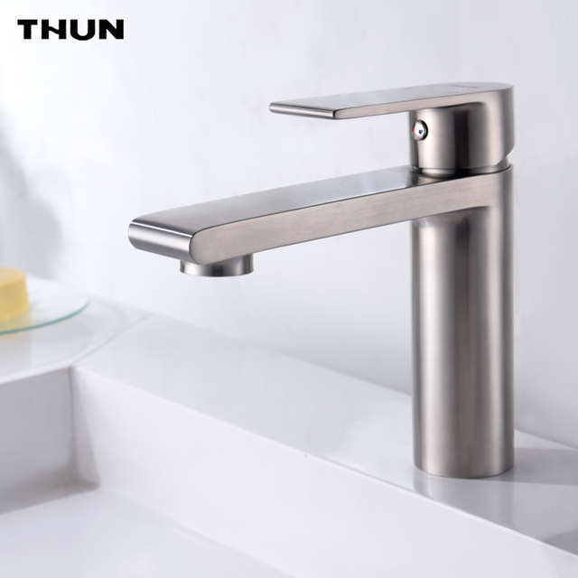 stainless steel bathroom fixtures. THUN New Arrival Fashion Basin Faucet Hot And Cold 304 Stainless Steel Bathroom Brushed Finish Fixtures H