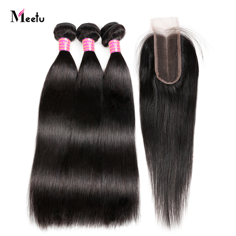 Malaysian Straight Hair With Closure Meetu Hair Extension Bundles With Closure Non Remy 2 3 Human