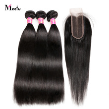 Malaysian Straight Hair With Closure Meetu Hair Extension Bundles With Closure Non Remy 2/3 Human Hair Weave With Lace Closure