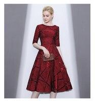 vestidos de novia longo 2018 bride Prom party Evening gown half sleeve a line tea length lace short Mother of the Bride Dresses