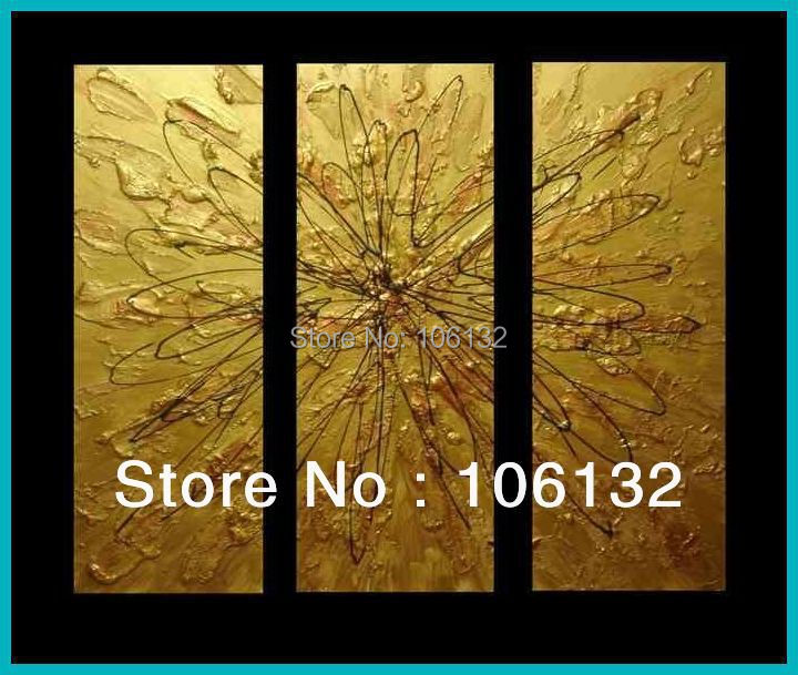 Framed 3 Panel Huge High End Stunning Golden Textured Oil Paintings ...
