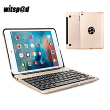 Witsp@d USB Bluetooth Wireless Keyboard Cover Case For iPad Mini 4 Tablet Metal 7 Backlit Keyboard Case For Mini 4 A1538 A1550