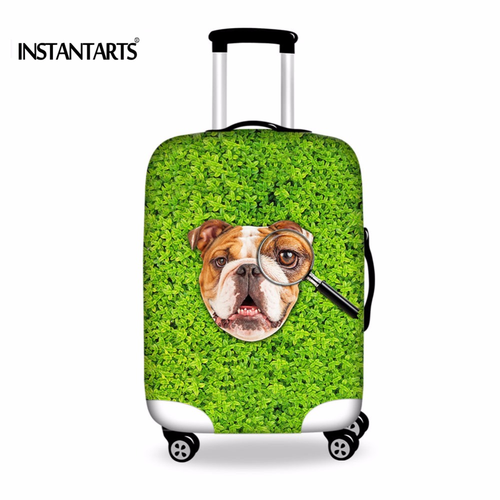 INSTANTARTS Elastic Luggage Protective Covers Waterproof Cute Bulldog Pug Dog Dust Rain Covers Apply to 18-30 Inch Trolley Cases