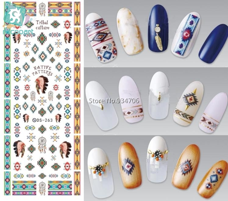 Rocooart DS263 Water Transfer Nails Art Sticker Indian Style Vintage Cool Nail Wraps Sticker Watermark Fingernails Decals 2016 1 sheet white color nails art sticker winter style white snowflake nail water transfer sticker fingernails decals