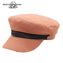 2019 New Felt Beret Hats Women Wool Military Hat Visor Army Caps Twist Belt Capitan Hat for Men Sailor Hats Flat Top Sea Cap men visor cap security guard hat army caps men military police hats for cosplay halloween christmas festival gift