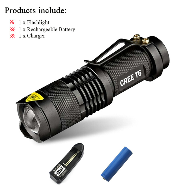 Mini cree xm-l2 xml t6 q5 flashlight powerful Zoomable waterproof led torch rechargeable lanterna camping flash light  lumens