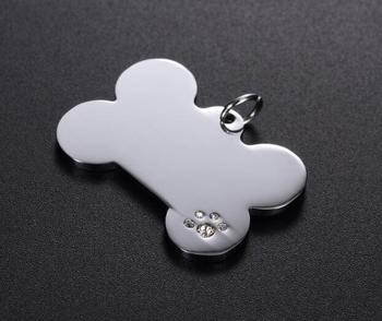 50pcs Dog Collar Stainless Steel Cat Tag Pet Charm Pendant Accessories ID Tag Name Telephone Anti-lost Pet Supplies