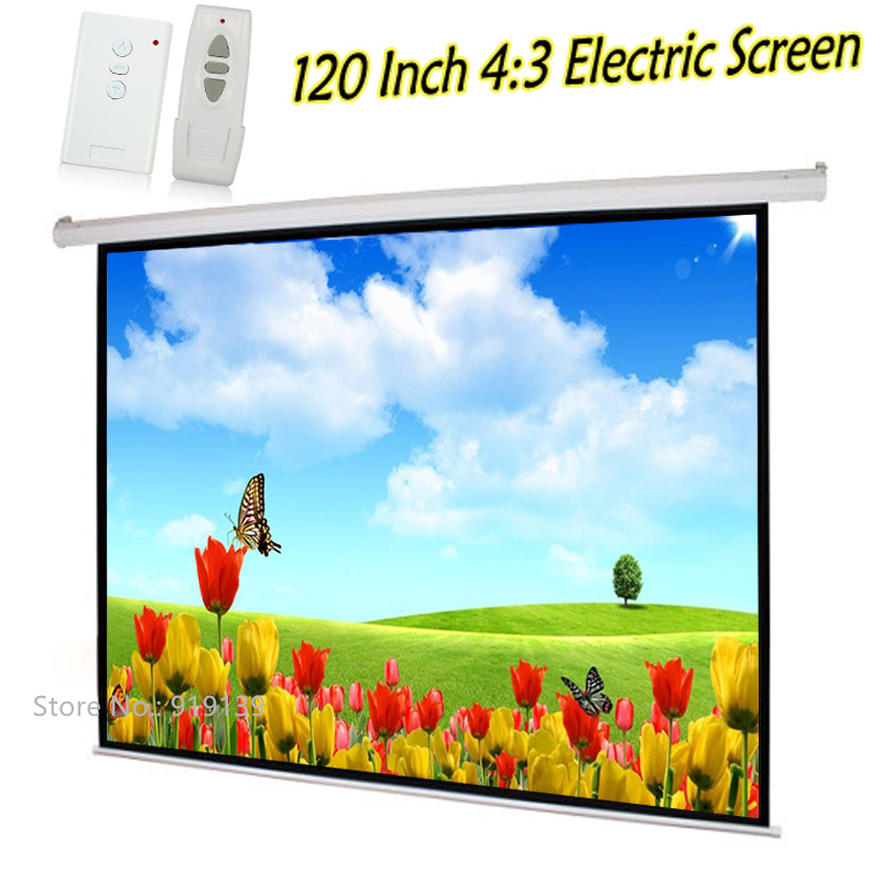 Automatic Pull Down Beamer Projector Screen 120 Inch 3D Cinema Electric Projection Screen 4:3 Best Price For School Office
