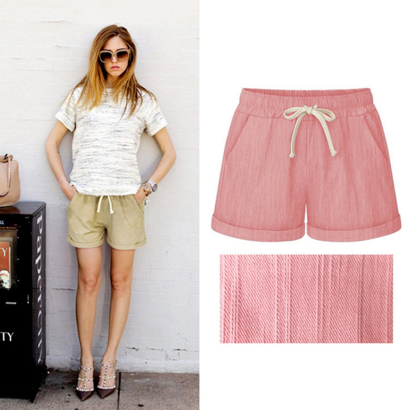 Hot Summer Casual Shorts Beach High Waist Short Fashion Lady Women  Candy Color Elastic With Belt Short