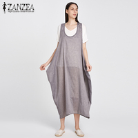 2018 ZANZEA Women Summer Straps Sleeveless Solid Baggy Backless Long Dungarees Dress Loose Casual Party Beach
