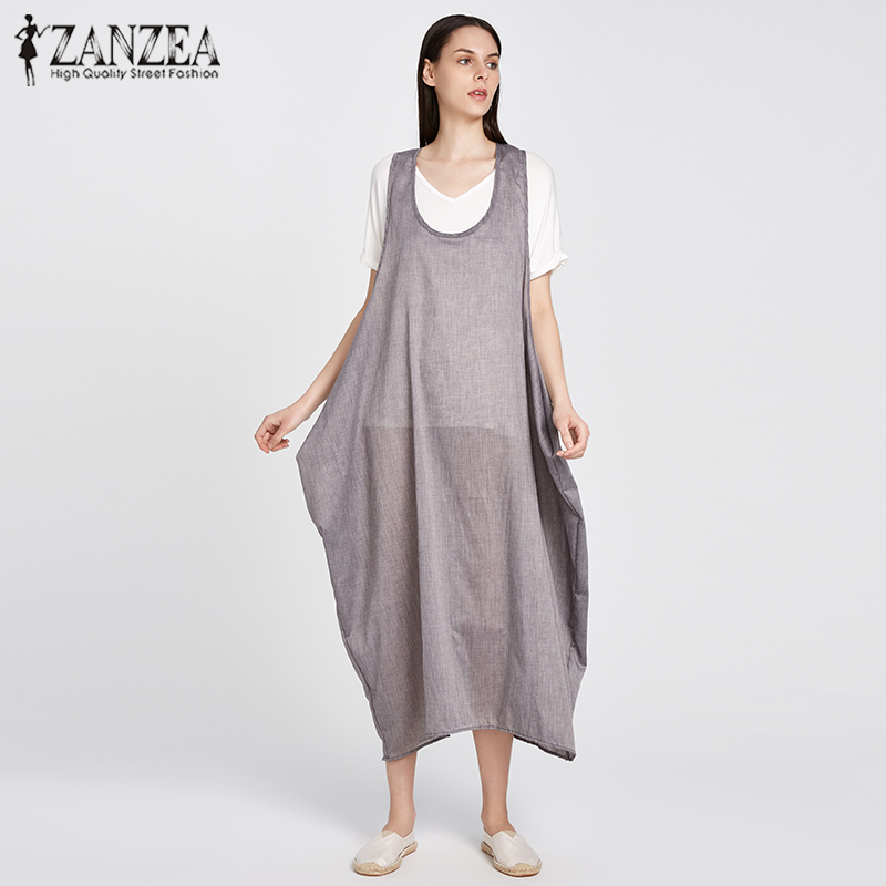2018 ZANZEA Women Summer Straps Sleeveless Solid Baggy Backless Long Dungarees Dress Loose Casual Party Beach Vestido Plus Size