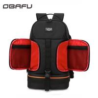 OBAFU DSLR Waterproof Shockproof Shoulders Camera Backpack Tripod Case Reflector Stripe fit Laptop Bag for Canon Nikon Sony