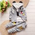 Девочки весна одежда спортивный костюм мальчиков одежда устанавливает cartton Микки новорожденного девушки одежду 3 шт. Дети костюм одежда