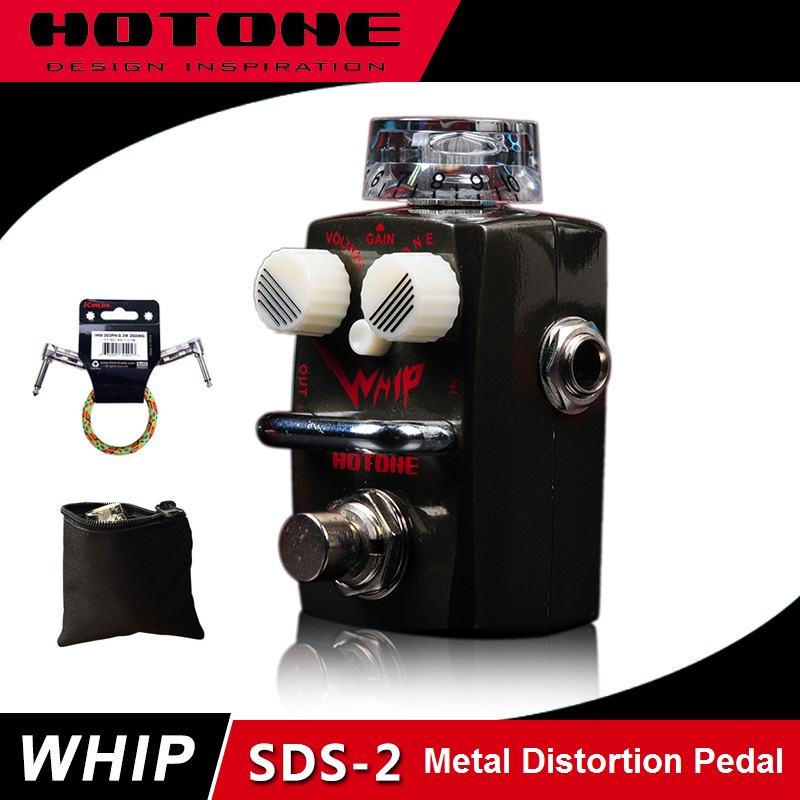 цена Hotone Skyline Series WHIP Heavy Metal Distortion Pedal with Free Pedal Case and More