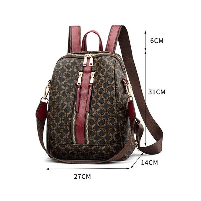 2019 Luxury Leather Backpack Women Printing Backpacks Retro Female Bag School Bags For Girls Travel Rucksack Ladies Shoulder Bag 1