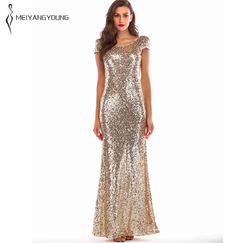 5f97add12d1df 2019 Spring Women Golden Sparkly Prom Sequin Dress Elegant Brilliant Long  Mermaid Party Dress Plus Size Maxi Evening Clothes