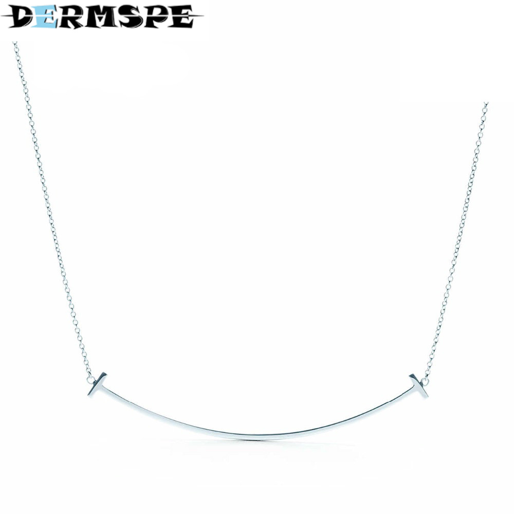 DERMSPE TIFF 925 Sterling Silver Bar Pendant Necklaces for Men / Women Genuine Ribbon Tiff Necklace Fashion Jewelry Gift tiff 100